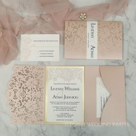 blush laser cut pocket fold resembles lace with a lace inspired invitation, mirrored backer, and custom belly band EWWS265