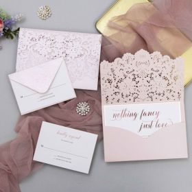 blush shimmer laser cut with rose gold nothing fancy just love calligraphy wedding invites EWDM016