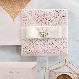 blush shimmer laser cut wrap with raised floral pattern invitation EWWS241
