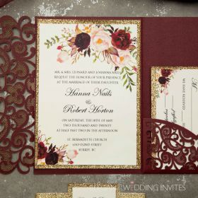burgundy laser cut pocket fold and burgundy floral wedding invitations with glittery belly band EWWS267-1