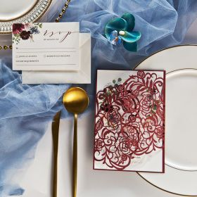 Geometric Garden-Burgundy Laser Cut Warp with Burgundy and Blush Floral Wreath on Invitation EWDA003