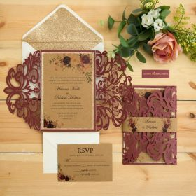 burgundy laser cut wedding invites with floral and glittery backing card EWWS302-1