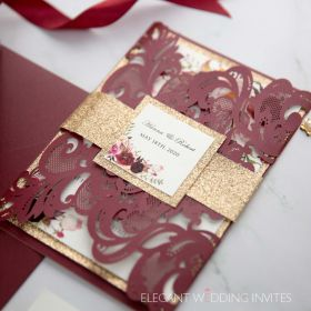 burgundy laser cut wedding invitation with floral and glittery belly band and backer EWWS273-6