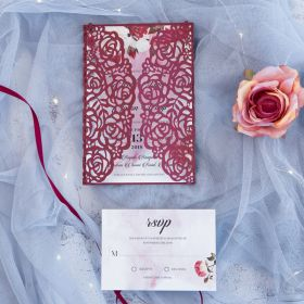 Watercolor Mystique-burgundy laser cut wrap with watercolor background invitation and matching floral EWDM007