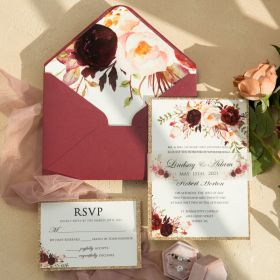 burgundy floral wedding invitation with matching vellum paper belly band EWI466