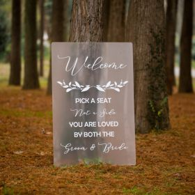 Calligraphy Frosted Wedding Sign Pick a Seat Not a Side EWSG042-1