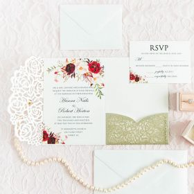 floweret sparkles – champagne glittery laser cut pocket fold with floral patterned invitation EWWS238