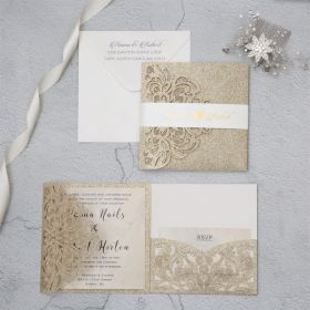 luxury champagne gold glitter tri-fold laser cut pocket wedding invite with belly band EWWS224