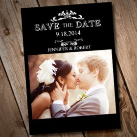 cheap black and white save the date with photo online EWSTD043