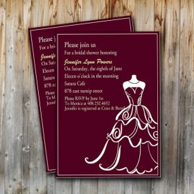 chic wedding dress templates bridal shower invitation EWBS007