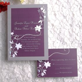 vintage floral plum wedding invitation EWI001-1