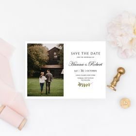 cheap greenery save the date cards with photo EWSTD068