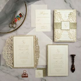 chic and modern laser cut wedding invitations with glitter belly band EWWS286-1