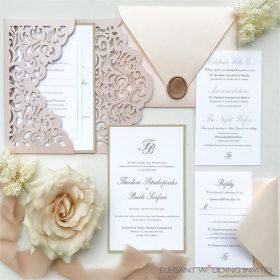Chic simple blush laser cut wraps with monogram wedding invitations EWDJ001-1