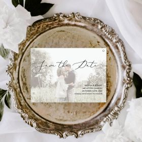 chic save the date card with a romantic photo layer EWSTD070
