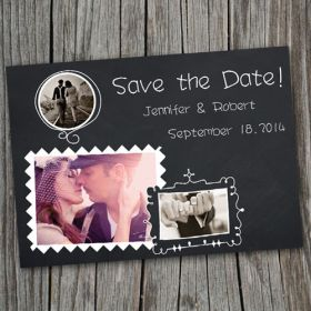 Cheap chalkboard save the date with photos EWSTD031