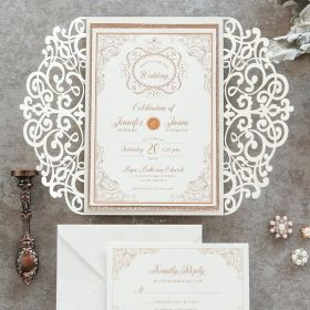 classic and vintage ivory and gold scroll glittery laser ut wedding invitations EWDK007-1