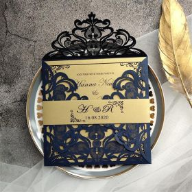 unique laser cut navy blue and gold wedding invitations with belly band EWTS007-1
