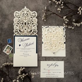 classic ivory pocket laser cut wedding invitations with navy blue backer EWWS230