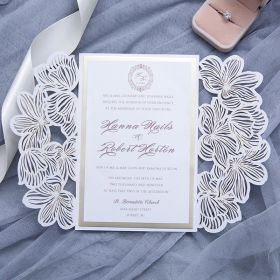 classic white laser cut wedding invites with champagne mirror paper bottom card and tag EWWS229