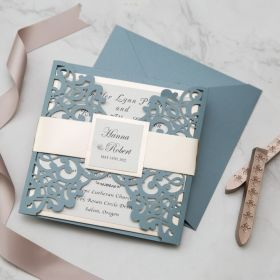 classy dusty blue laser cut wedding invitations with mirror belly band and tag EWWS306