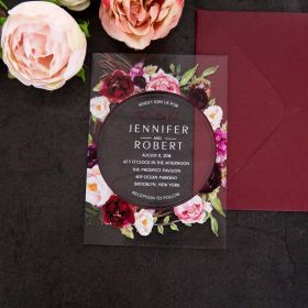 clearly floral-acrylic wedding invite thickness 2mm with blush and burgundy floral wreath EWIA009