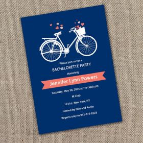 navy blue and coral bicycle bachelorette invitation cards EWBI004