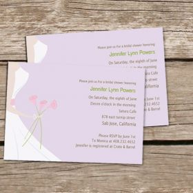printable wedding dress purple bridal shower invitations cheap EWBS006