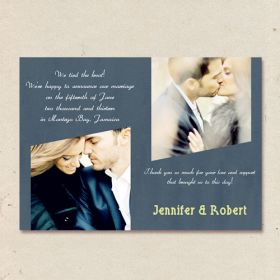 Custom dusty Blue Wedding Announcements Cards with Two Photo EWA006