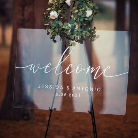 Custom Wedding Signs-Acrylic Welcome Sign Clear and Chic Calligraphy EWSGT037-1