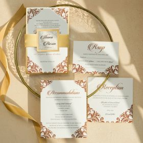 damask corner wedding invite with mirror gold paper backer and tag EWI467