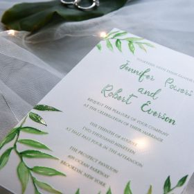devine vine – fresh greenery and fern inspired UV printing wedding on Vellum paper EWUV021