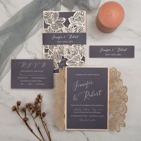 elegant blush laser cut wedding invitation with dark grey inner and belly band EWWS283-1
