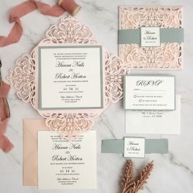 elegant blush laser cut wedding invites with silver paper backer and tag EWWS291-1