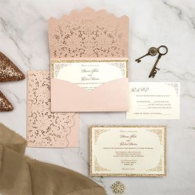 elegant blush pink laser cut envelope wedding invites EWWS282-1