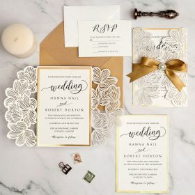 elegant ivory laser cut wedding invitation with gold mirror paper and ribbon EWWS294-1