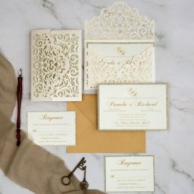 elegant ivory laser cut wedding invitations with champagne gold glitter backers EWWS289