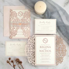 elegant modern chic blush pink laser cut wedding invitations with monogram EWWS295-1