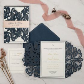 elegant navy blue laser cut wedding invitations with pink belly band EWWS288