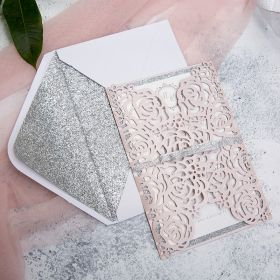 elegant pink and silver rose laser cut glittery wedding invitations with glitter ribbon EWTS037-1