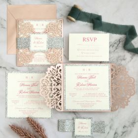 elegant upscale blush and silver glitter laser cut wedding invitation with belly bands and tags EWWS296-1