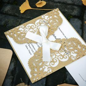 elegant gold and ivory laser cut wedding invites with ribbons EWWS221