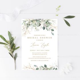 elegant greenery botanical bridal shower invitation EWBS067