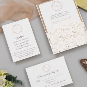 elegant ivory embossing and laser cut wrap with rose gold monogram wedding invitation EWDK016-1