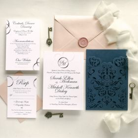 elegant navy blue laser cut wedding invitations with baroque traditional invites EWDJ002-1