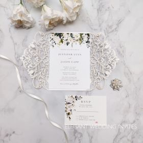 elegnat ivory and white flowers and greenery pattern laser cut invitation-1