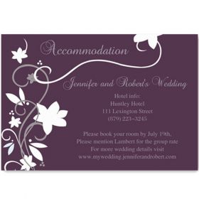cheap rustic floral plum wedding accommodation cards EWI001A