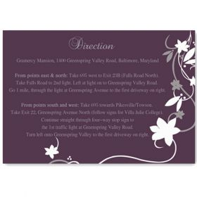 cheap rustic floral plum wedding direction cards EWI001F