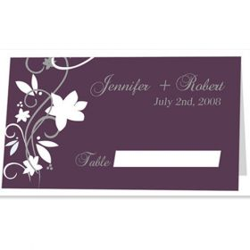 cheap rustic floral plum wedding folded place cards EWI001P