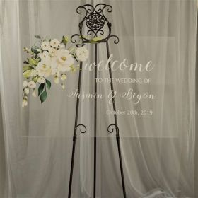 Personalized Wedding Sign-Acrylic Welcome Sign Elegant Ivory and White Flowers Greenery EWSG006